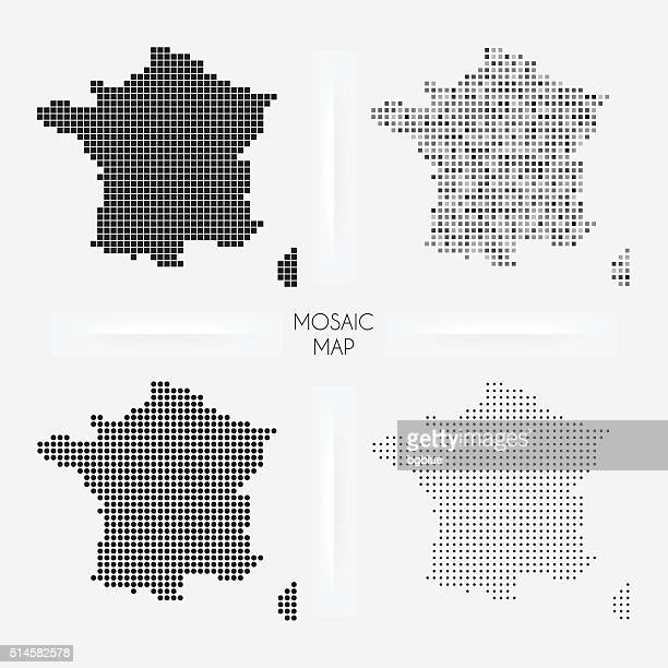 France maps - Mosaic squarred and dotted