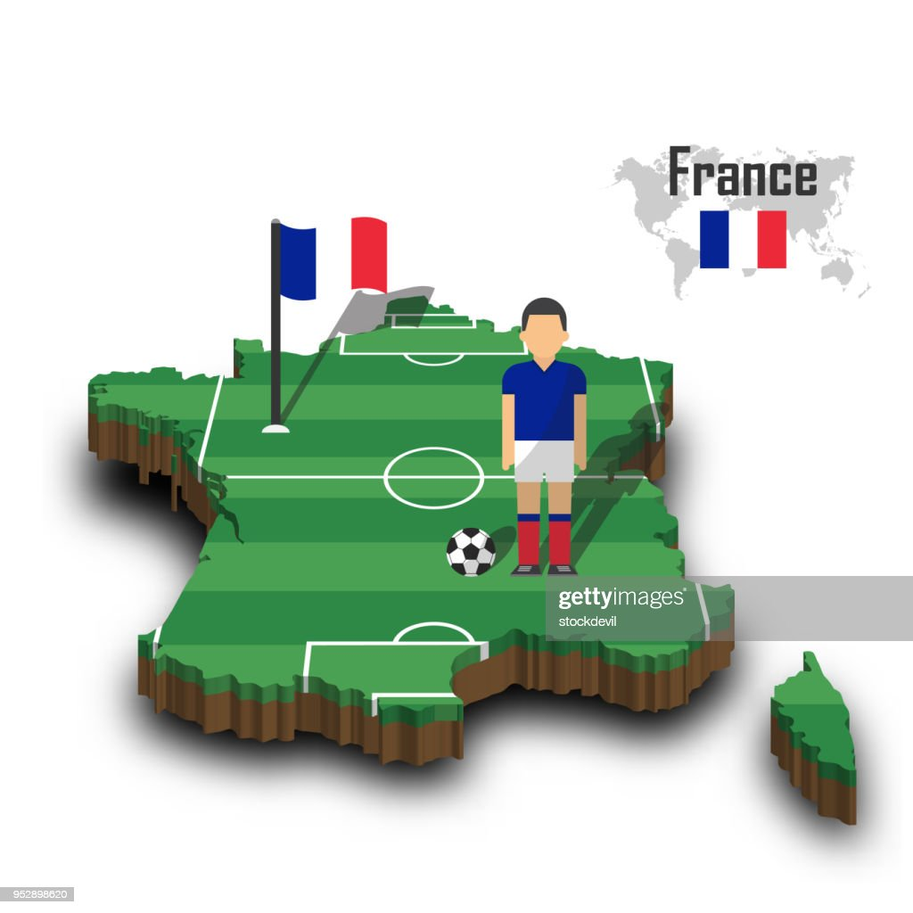 France national soccer team . Football player and flag on 3d design country map