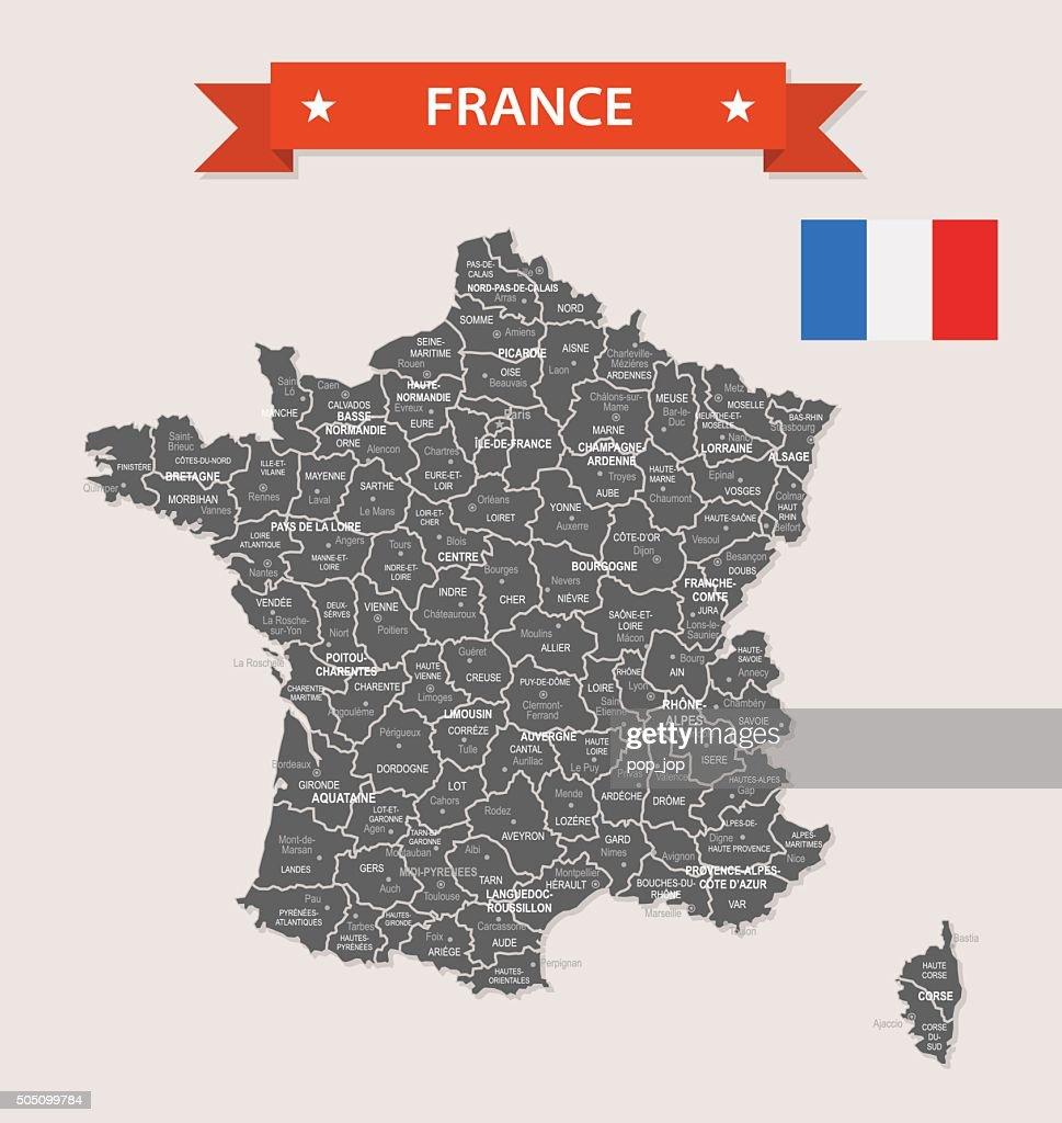 France - old-fashioned map - Illustration