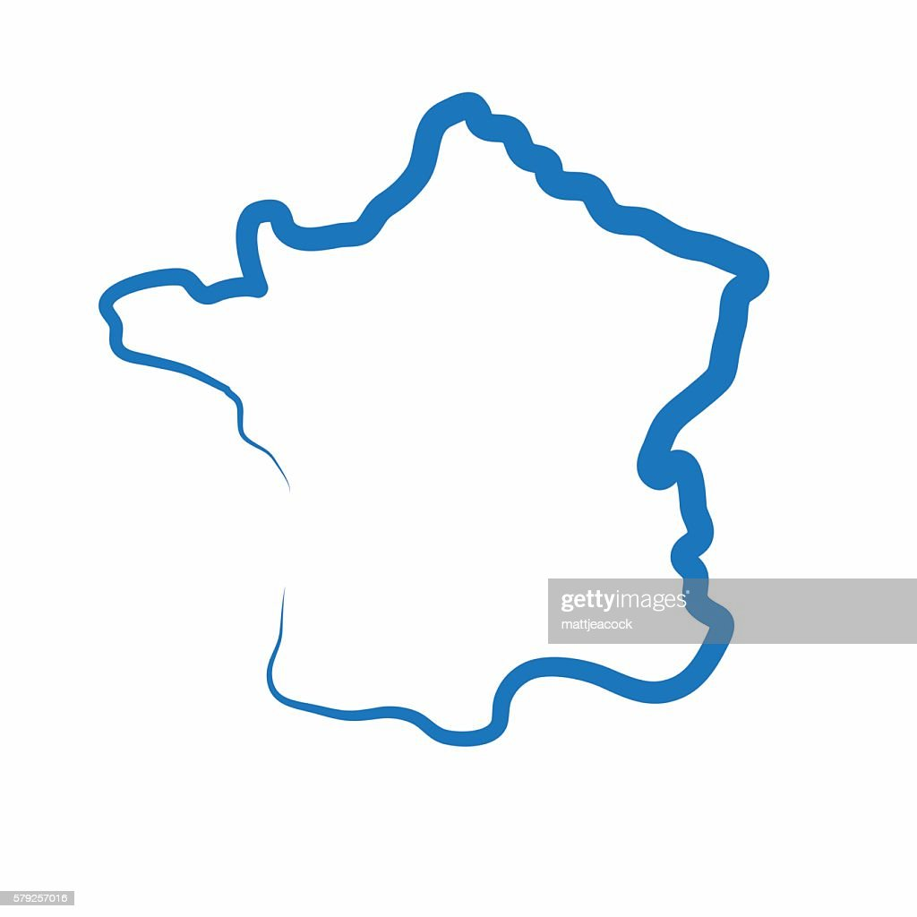 France outline map made from a single line