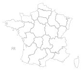 France outline silhouette map illustration with regions
