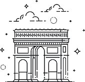 France, Paris, triumphal arch, vector icon isolated on white background.