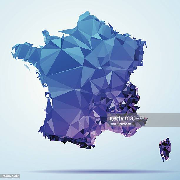 France Polygon Triangle Map Blue