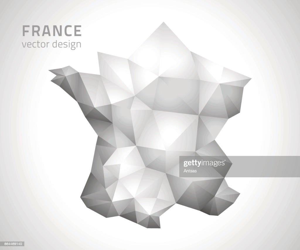 Karta Sverige Frankrike.Frankrike Polygonal Triangel Vektor Mosaik Gra Och Silver Karta