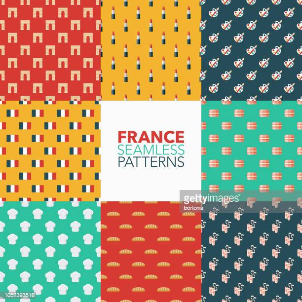 france seamless pattern set - macaroon stock illustrations, clip art, cartoons, & icons