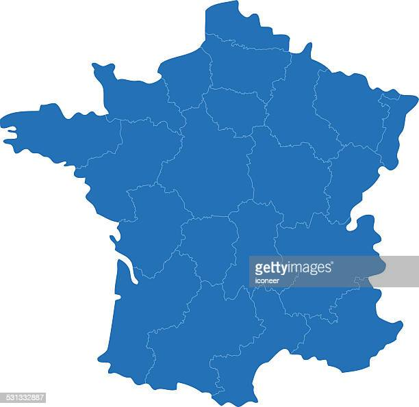 france simple blue map on white background - aquitaine stock illustrations, clip art, cartoons, & icons