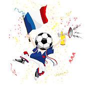 France Soccer Fan with Ball Head