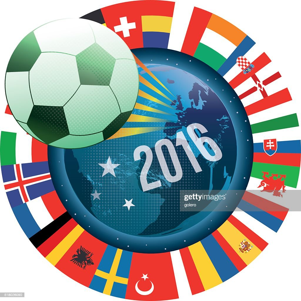 france soccer label with world map and international flags : stock illustration