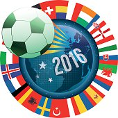 france soccer label with world map and international flags