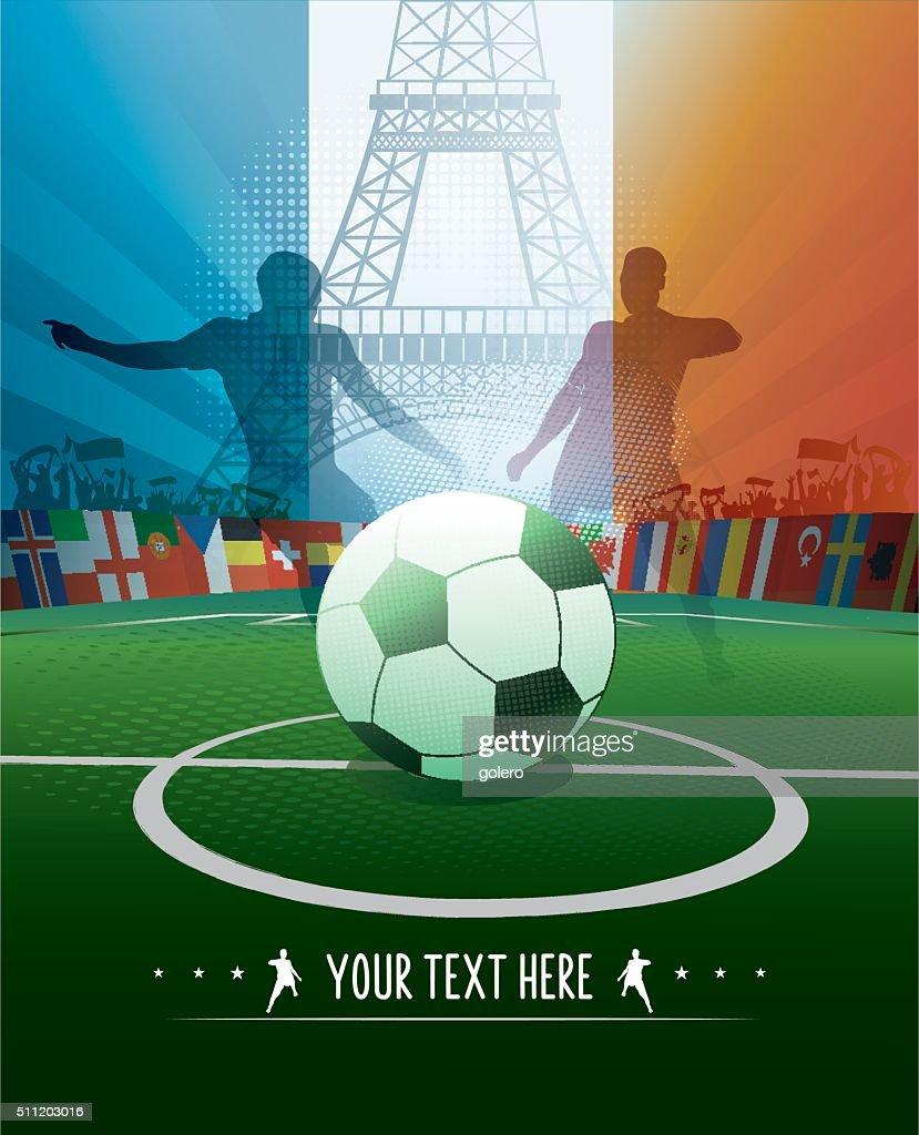 Frankreich Fussballstadion Poster Mit Eiffelturm Und