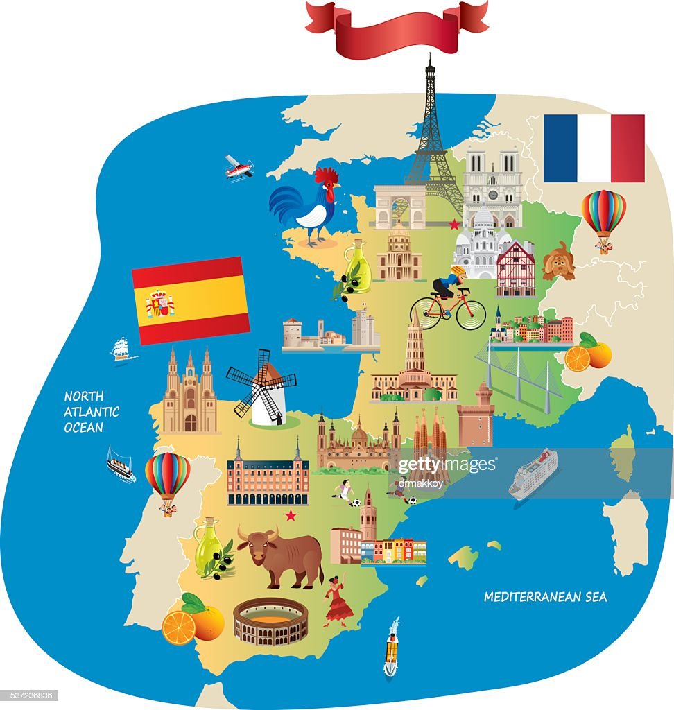 France Spain Cartoon Maps Vector Art Getty Images - Map of france and spain