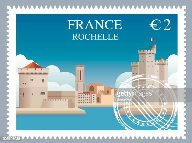 france stamp - la rochelle stock illustrations