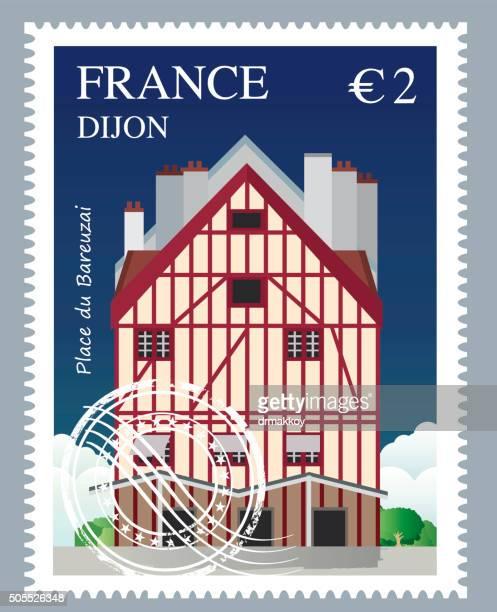 france stamp - dijon stock illustrations