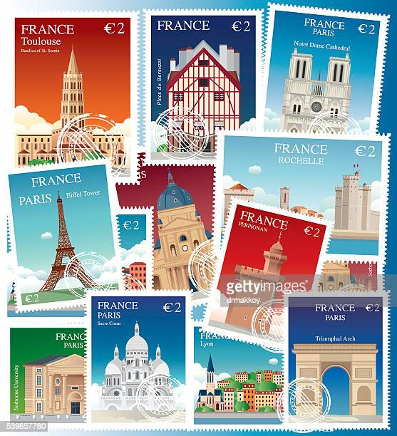 france stamps - nice france stock illustrations, clip art, cartoons, & icons