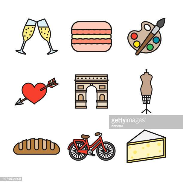 france thin line icon set - mannequin stock illustrations, clip art, cartoons, & icons