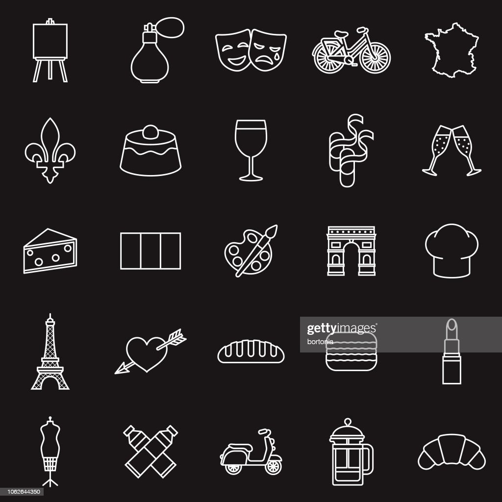 France ligne mince contour Icon Set : Illustration