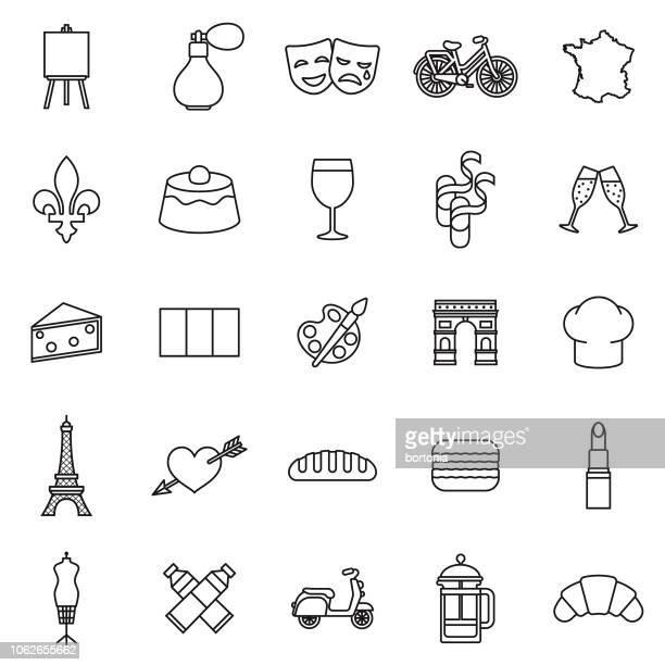 フランスの細い線のアウトラインのアイコンを設定 - フルールドリス点のイラスト素材/クリップアート素材/マンガ素材/アイコン素材