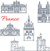 France travel vector Bordeaux architecture icons