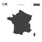 France Vector Map Isolated on White Background. High-Detailed Black Silhouette Map of France