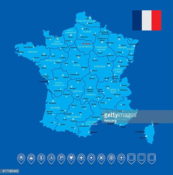 france vector map - toulouse stock illustrations, clip art, cartoons, & icons