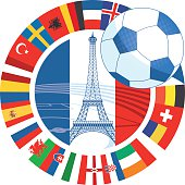 france vector soccer icon with eiffel tower and international flags