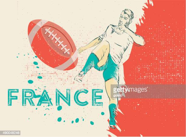 france vintage rugby illustration - competitive sport stock illustrations, clip art, cartoons, & icons
