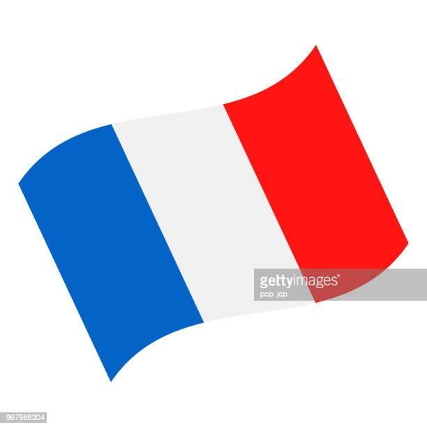 frankreich - winken flaggensymbol vektor flach - fliegen stock-grafiken, -clipart, -cartoons und -symbole