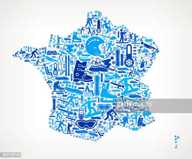 France Winter Sport Fun  Vector Graphic