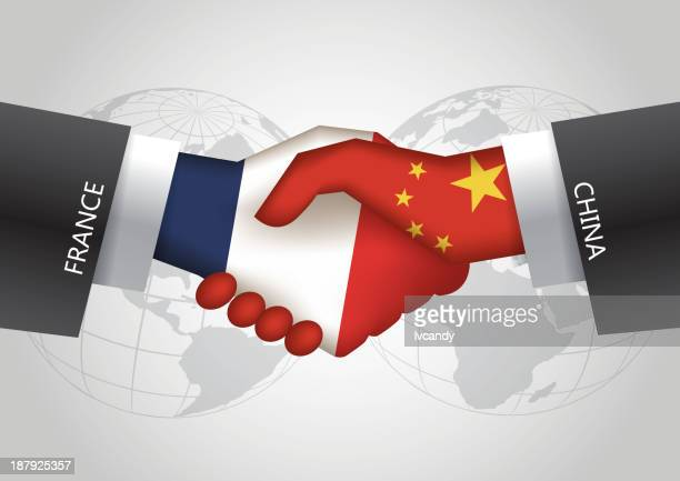 france-china handshake - diplomacy stock illustrations