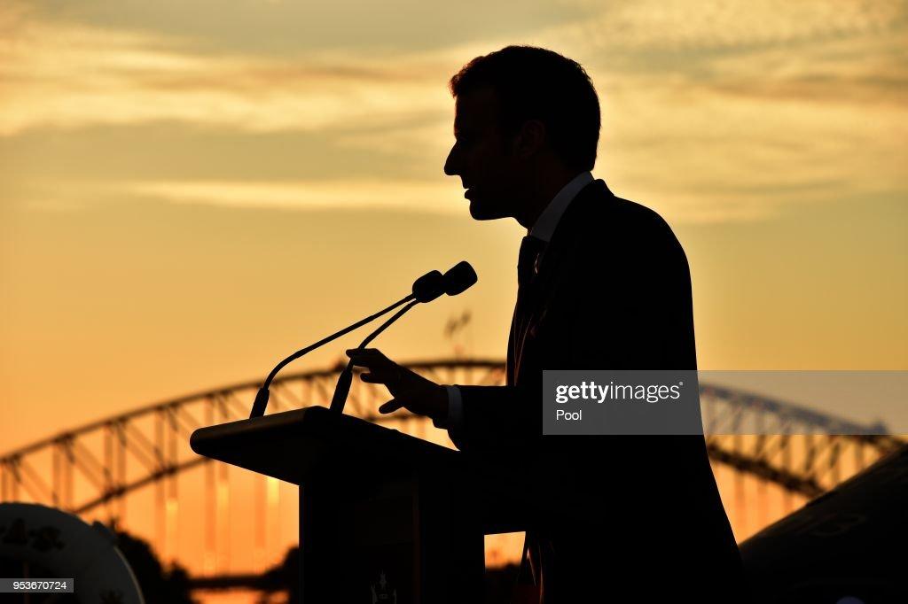 French President Emmanuel Macron Visits Sydney : News Photo