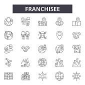 Franchisee line icons, signs set, vector. Franchisee outline concept, illustration: franchisee,franchise,business,shop,store,model,retail,license