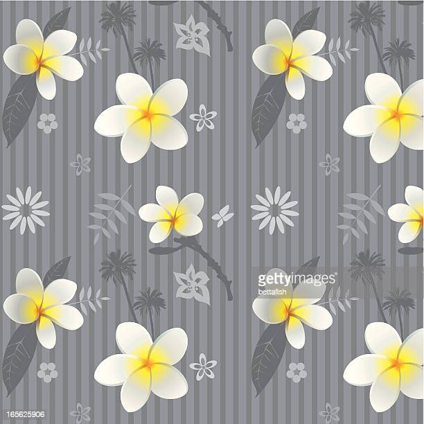 フランジパニ(プルメリア)の壁紙 - ジャスミン点のイラスト素材/クリップアート素材/マンガ素材/アイコン素材