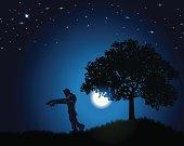 Frankenstein Background - Monster Under the Moonlight