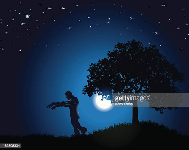 frankenstein background - monster under the moonlight - frankenstein stock illustrations