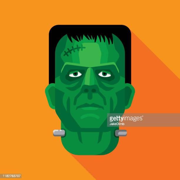 ilustrações de stock, clip art, desenhos animados e ícones de frankenstein face flat 1 - frankenstein