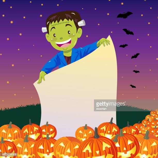 Frankenstein holding halloween notice