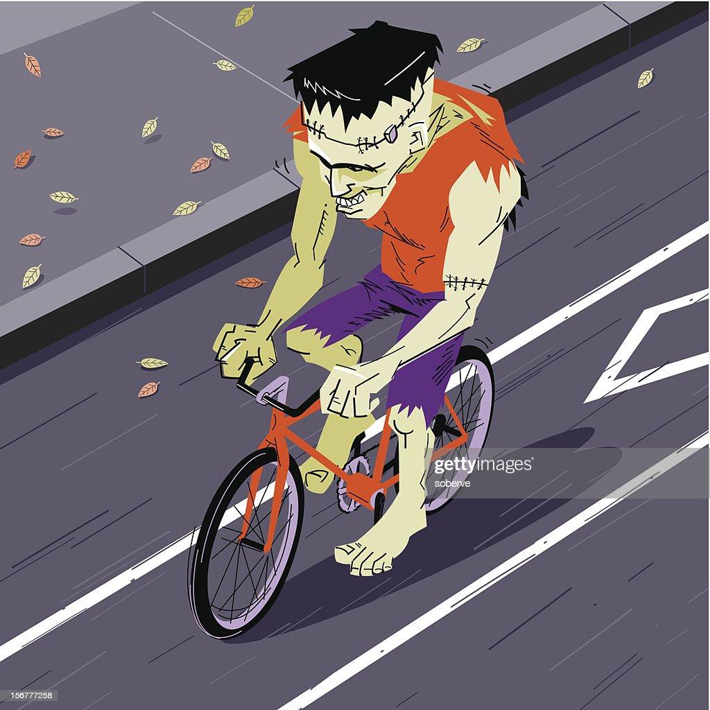 Frankenstein on the bike lane : Vector Art