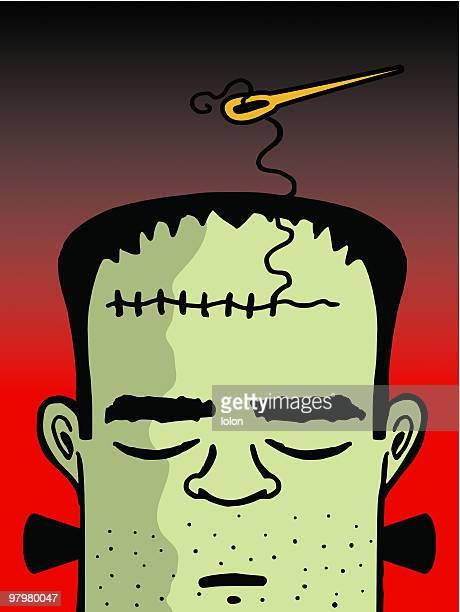 illustrations, cliparts, dessins animés et icônes de frankenstein - chirurgie esthetique