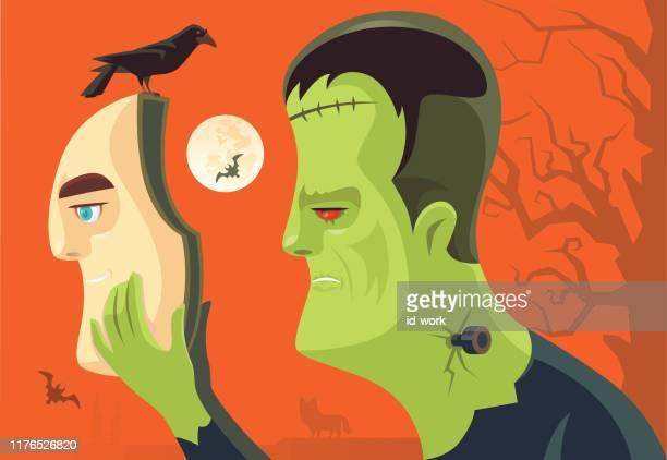 ilustrações de stock, clip art, desenhos animados e ícones de frankenstein wearing mask - frankenstein