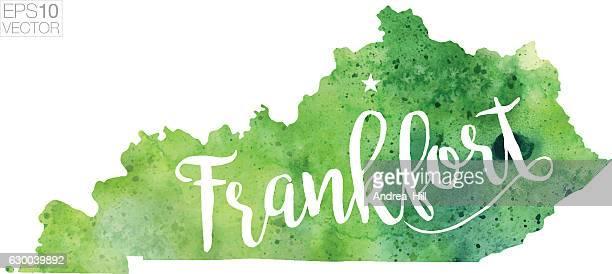 Frankfort, Kentucky USA Vector Watercolor Map