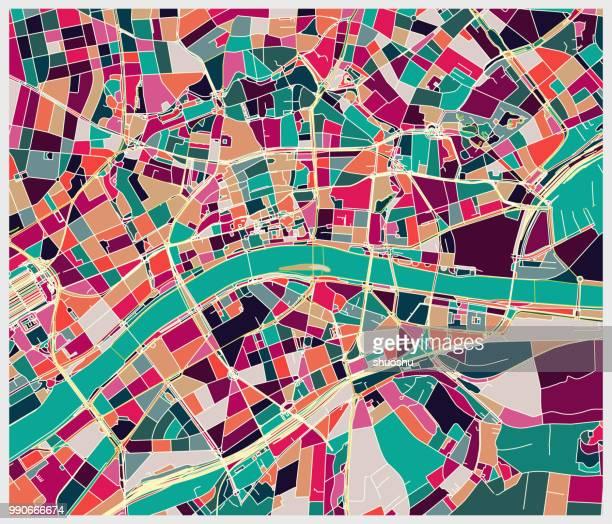 stockillustraties, clipart, cartoons en iconen met plattegrond van de kunst van de stad van frankfurt - hesse duitsland