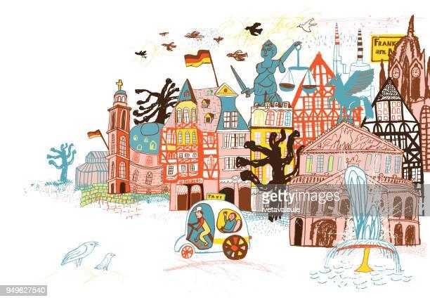 in deutschland frankfurt - lebewesen stock-grafiken, -clipart, -cartoons und -symbole