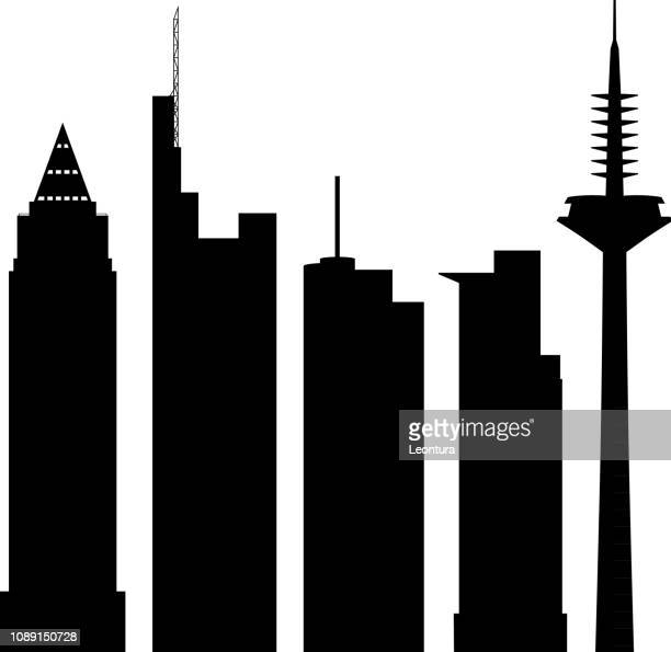 frankfurt (all buildings are complete and moveable) - frankfurt main tower stock illustrations