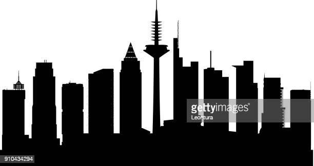 frankfurt (alle gebäude sind vollständig und beweglich) - stadtsilhouette stock-grafiken, -clipart, -cartoons und -symbole