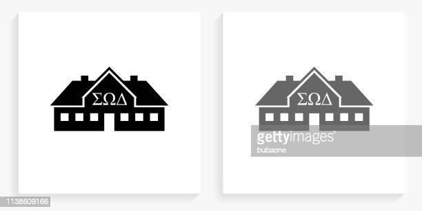 男子生徒ハウス黒と白の正方形のアイコン
