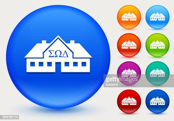 Frat House Icon on Shiny Color Circle Buttons