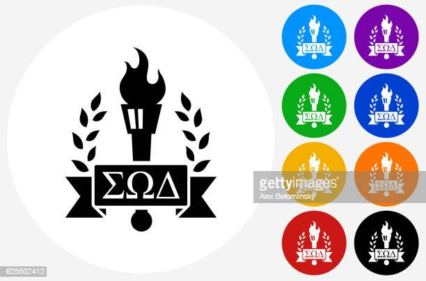 Frat Torch Emblem Icon on Flat Color Circle Buttons