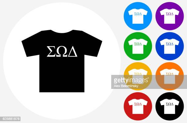 Frat T-shirt Icon on Flat Color Circle Buttons