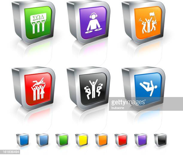 Fraternity Party 3D icon set with Metal Rim