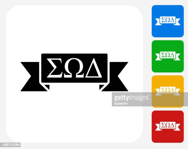 fraternity ribbon icon flat graphic design - greece stock illustrations